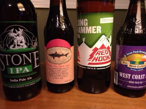 Tasting Notes for West Coast (American) IPA: Green Flash, Dogfish Head, Red Hook, Stone