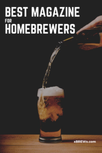 craft beer pouring into a pint glass from a tall height creating foam/head to represent this list of the best magazines for homebrewers