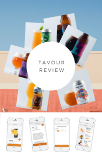 "beers from the Tavour app with text that reads ""tavour review"""