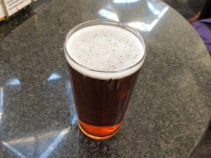 amber real ale in a pint glass
