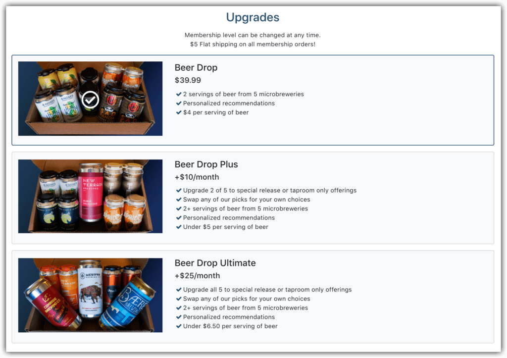 BeerDrop Upgrades