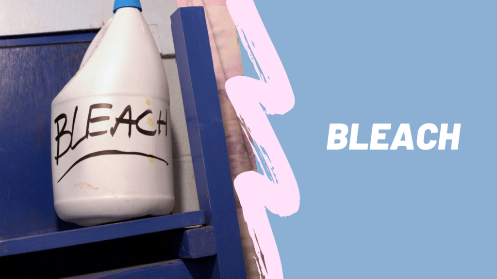 bottle of bleach with hand written label