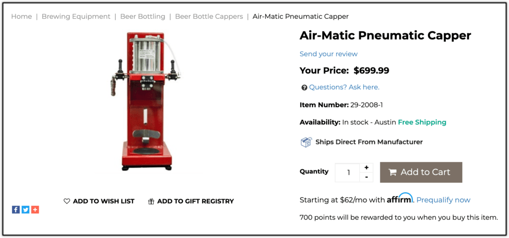 Air-Matic Pneumatic Capper screenshot from Homebrewing.org