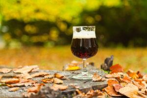 bock lager beer with leaf scenery