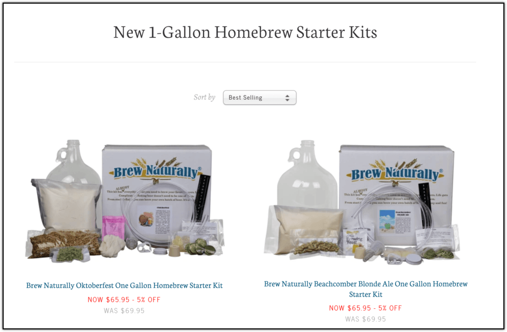 brew naturally 1 gallon starter kits